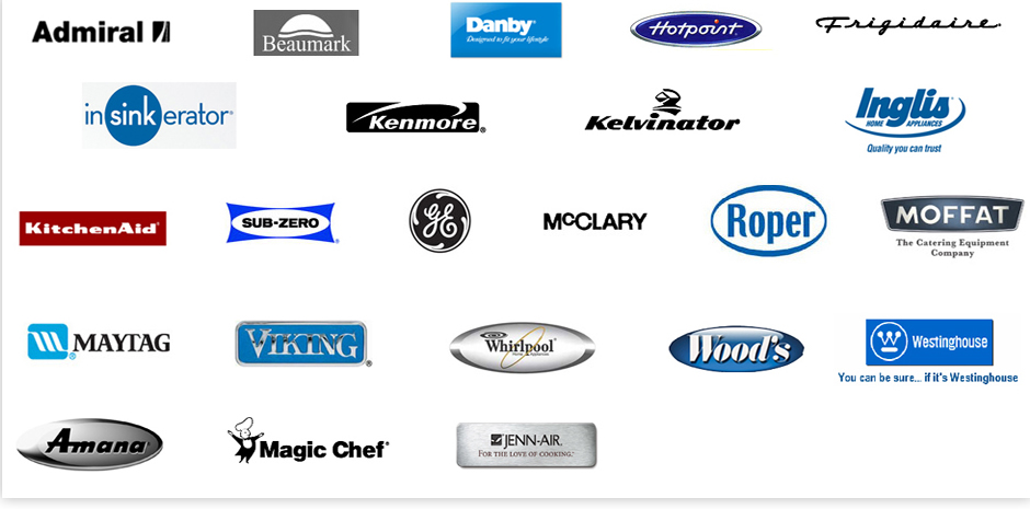 Logos of Appliancee Manufacturer Brands That Appliance America Can Service and Repair Like - GE, Whirpool, Sears, Jenn Air,  Sub Zero, Frigidare, and Maytag